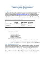 Engineering Design in Oregon Science Classrooms Summary of ...