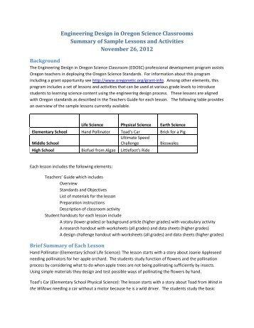 Engineering Design in Oregon Science Classrooms Summary of ...