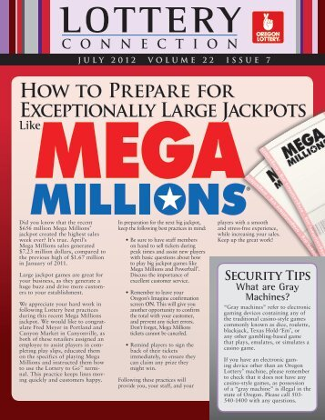 How to Prepare for Exceptionally Large Jackpots - Oregon Lottery