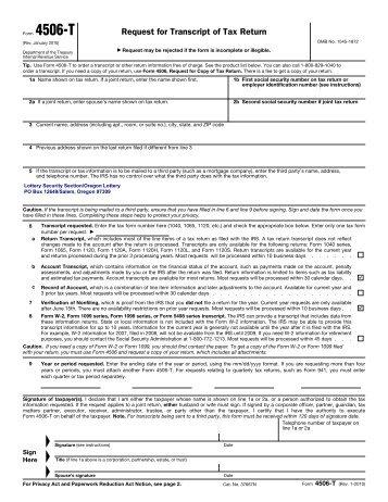 Obtaining A Tax Return Transcript