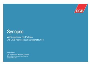 Wahlsynopse Europa Wahl 2014