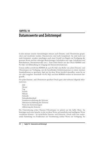 KAPITEL 10 Datumswerte und Zeitstempel - beim O'Reilly Verlag