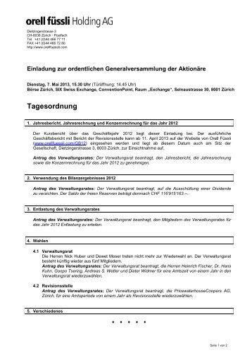 Tagesordnung - Orell Füssli Holding AG