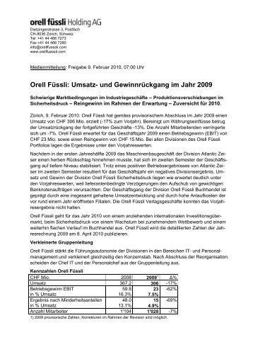 Orell Füssli Medienmitteilung - Orell Füssli Holding AG