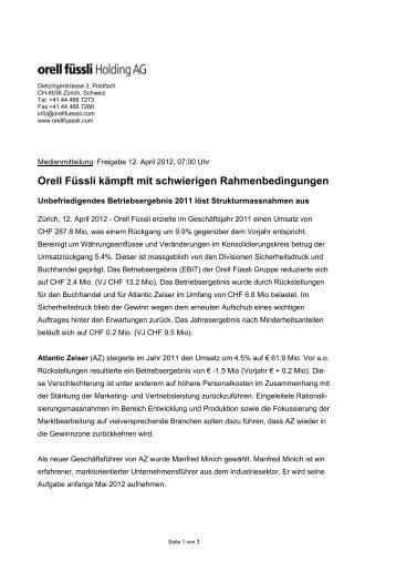 Orell Füssli Medienmitteilung