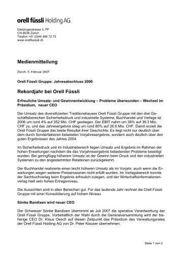 Medienmitteilung Rekordjahr bei Orell Füssli - Orell Füssli Holding AG