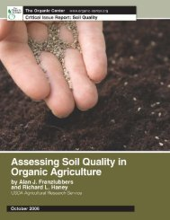 Assessing Soil Quality in Organic Agriculture. - The Organic Center