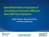 Identified Risks in Canada of Coexistence between GM and Non ...