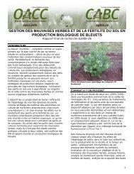 Gestion des mauvaises herbes et de la fertilité du sol en production ...
