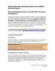 Recommandations pour la production de porcs biologiques