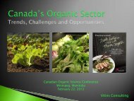Canada's Organic Sector: Trends, Challenges and Opportunities