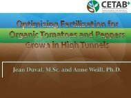 Optimizing Fertilisation for Organic Tomatoes and Peppers Grown in ...