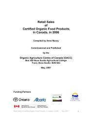 Retail Sales of Certified Organic Food Products in Canada 2006