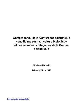 Compte-rendu de la Conférence scientifique canadienne sur l ...