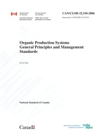 Organic Production Systems General Principles and ... - BC Egg Board