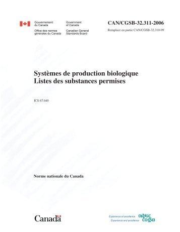 Listes des substances permises - Centre d'agriculture biologique du ...