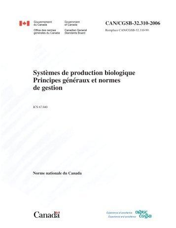 Systèmes de production biologique Principes généraux et normes ...