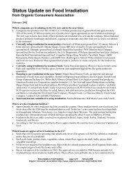 Status Update on Food Irradiation - Organic Consumers Association