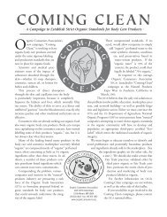 Coming Clean Information Sheet - Organic Consumers Association