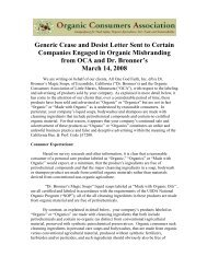 Cease and Desist Letter - Organic Consumers Association
