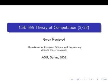 CSE 555 Theory of Computation (2/28) - Organic Origami