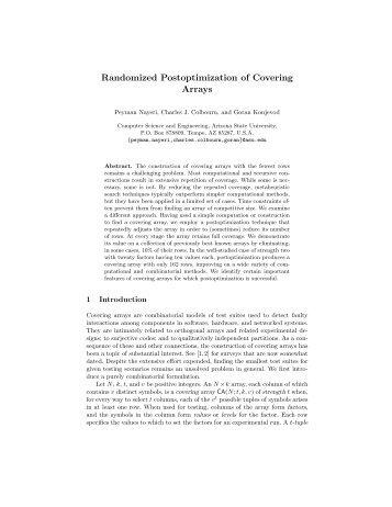 Randomized Postoptimization of Covering Arrays - Organic Origami