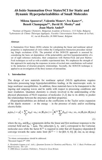 Ab Initio Summation Over States/SCI for Static and Dynamic ...