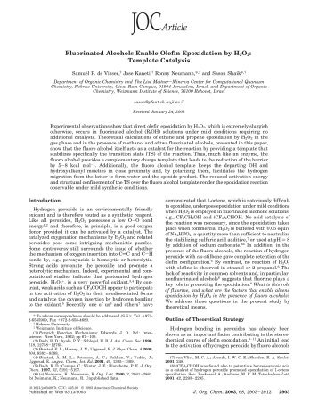 Fluorinated Alcohols Enable Olefin Epoxidation by ... - ResearchGate