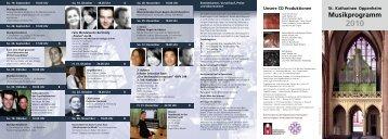Musikprogramm - Kirchenmusik Sankt Katharinen