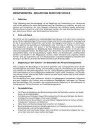 Berufseinstieg - Begleitung durch die Schule - März 2011 - AVS