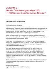 AVS Info 5 Bericht Orientierungsarbeiten 2004 4. Klassen der ...