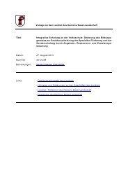 Landratsvorlage Integrative Schulung - Kanton Basel-Landschaft