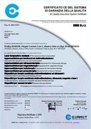 certificato ce del sistema di garanzia della qualità - Doctorshop.it