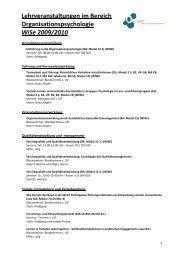 Lehrveranstaltungen WiSe0910 - OrgLab