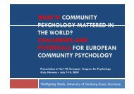 Community Psychology in Europe - OrgLab