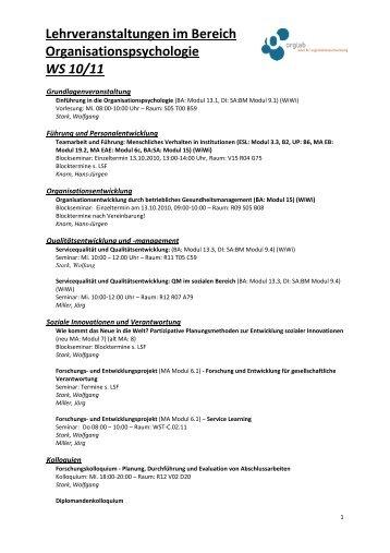 Lehrveranstaltungen WS10_11 - OrgLab