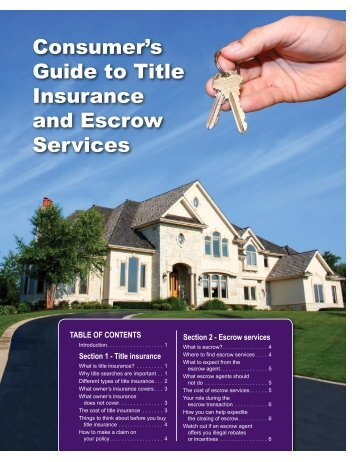 Consumers Guide To Title Insurance And Escrow Services