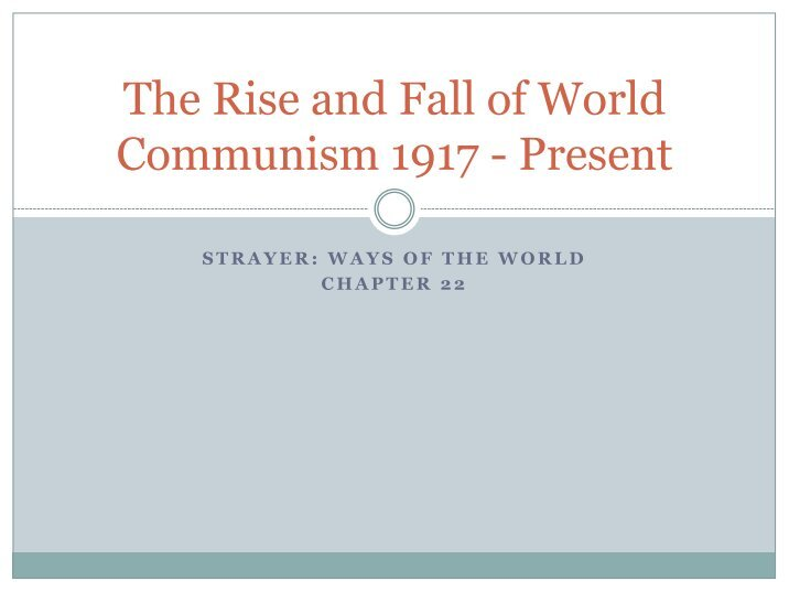 an introduction to the communism an original system of society Communism is a political and economic system in which the major productive resources in a society—such as mines, factories, and farms—are owned by the public or the state, and wealth is divided among citizens equally or according to individual need.