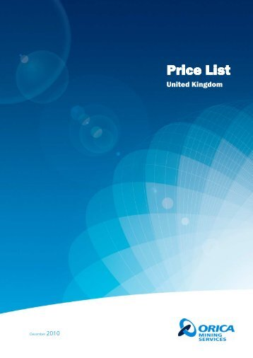 Customer Price List Std Dec 2010_Nx - Orica Mining Services