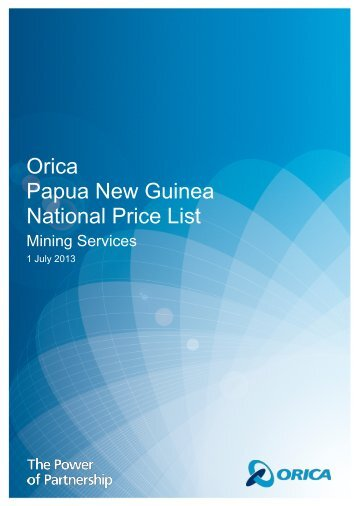Orica PNG July 1 2013 Price List - Orica Mining Services