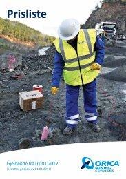 Prisliste - Orica Mining Services