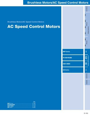 AC Speed Control Motors Introduction (pg. D-153 to ... - Oriental Motor