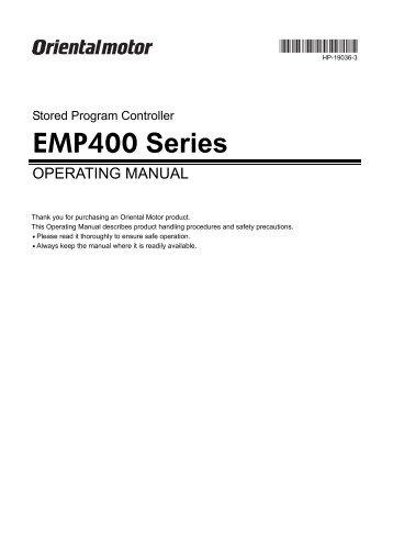 Operating Manual - Oriental Motor