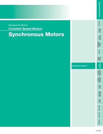 Synchronous Motors - Oriental Motor