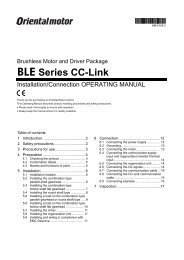 Brushless Motor and Driver Package BLE Series CC ... - Oriental Motor