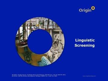 Linguistic Screening - Origin Brand Consultants