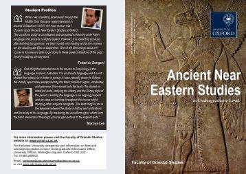 Ancient Near Eastern Studies - Faculty of Oriental Studies