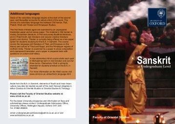 Sanskrit - Faculty of Oriental Studies