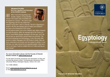 Egyptology - Faculty of Oriental Studies - University of Oxford