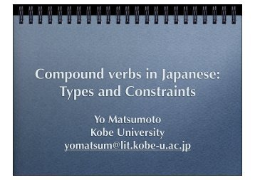 Compound verbs in Japanese: Types and Constraints
